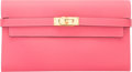 """Luxury Accessories:Accessories, Hermes Rose Azalee Epsom Leather Kelly Long Wallet with GoldHardware. 2016. Pristine Condition. 8"""" Width x4.5"""" H..."""