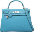 Luxury Accessories:Bags, Hermes 32cm Blue Jean Togo Leather Retourne Kelly Bag withPalladium Hardware. I Square, 2005. Very Good toExcellent ...
