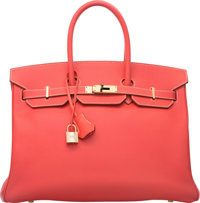 Hermes Limited Edition Candy Collection 35cm Rose Jaipur Epsom Leather & Gold Birkin Bag with Permabrass Hardwar...