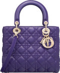"Luxury Accessories:Bags, Christian Dior Purple Cannage Quilted Lambskin Leather Lady Dior MMBag. Excellent Condition. 9.5"" Width x 8"" Height x..."