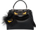 "Luxury Accessories:Bags, Fendi Black Leather & Python Monster Peek-A-Boo Bag with FurBag Bug. Excellent to Pristine Condition. 13.5"" Width x1..."