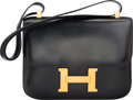 Luxury Accessories:Bags, Hermes 23cm Black Calf Box Leather Single Gusset Constance Bag withGold Hardware. I Circle, 1979. Very Good Condition...