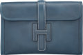 "Luxury Accessories:Bags, Hermes Blue Thalassa Calf Box Leather Jige MM Clutch Bag. LSquare, 2008. Very Good Condition. 11.5"" Width x 7""He..."