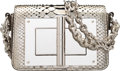"""Luxury Accessories:Bags, Tom Ford Metallic Silver Python Natalia Bag. Excellent to Pristine Condition. 7"""" Width x 5"""" Height x 2"""" Depth. ..."""