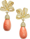 Estate Jewelry:Earrings, Coral, Diamond, Gold Earrings. ... (Total: 2 Items)