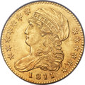 Early Half Eagles, 1811 $5 Small 5, BD-2, R.3, MS62 PCGS. CAC....