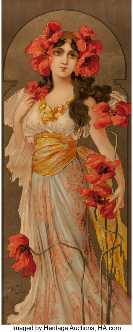 Mary Golay (British, 1869-1944) Set of Four Flower Maidens, circa 1900 Lithograph in colors, each 39-3/8 x 16 inches ... (Total: 4 Items)