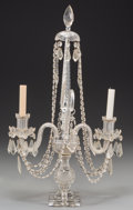 Lighting:Candelabra, A Glass Baccarat-Style Two-Light Girandole, circa 1930-1940. 25-3/4 inches high x 14-3/4 inches wide (65.4 x 37.5 cm). The...