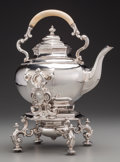 Silver Holloware, Continental:Holloware, A Large Continental Silver-Plated Hot Water Kettle on Stand, late19th-early 20th century. 16 inches high x 12 inches wide (...(Total: 2 Items)