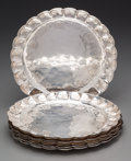 Silver & Vertu:Hollowware, Ten Mexican Colonial-Style Silver Chargers, first half 20th century. Marks: BTON, OM, (bird). 11-3/8 inches diameter (28... (Total: 10 Items)