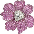 Estate Jewelry:Brooches - Pins, Pink Sapphire, Diamond, White Gold Brooch. ...