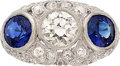 Estate Jewelry:Rings, Sapphire, Diamond, Platinum Ring, Sophia D.. ...