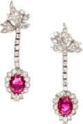 Estate Jewelry:Earrings, Burma Ruby, Diamond, White Gold Earrings. ... (Total: 2 Items)