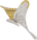 Estate Jewelry:Brooches - Pins, Colored Diamond, Diamond, White Gold Brooch. ...