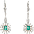 Estate Jewelry:Earrings, A Pair of Diamond, Emerald, Palladium Earrings. DIMENSIONS: 1-7/16inches x 1/2 inch. GROSS WEIGHT: 4.90 grams. . The flora... (Total:2 Items)