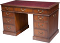 Furniture , Shirley's Personal Kittinger Oak Writing Desk with Leather Top, mid-20th century. 30 h x 49-1/4 w x 26-1/2 d inches (76.2 x ...