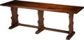 Furniture , An Italian Baroque Carved Walnut Refectory Table, Umbrian, 14th century and later. 35-1/2h x 101 w x 34-1/2 d inches (90.17 ...
