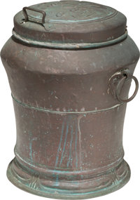 A Continental Copper and Wrought Iron Milk Can, 18th century Marks: 1787 26 inches high (66.0 cm)