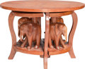 Furniture : Continental, A Ghanaian Carved Wood Nesting Table, circa 1974-1976. 19-3/8 h x28-1/4 w x 20 d inches (49.2 x 71.8 x 50.8 cm). The nest... (Total:5 Items)