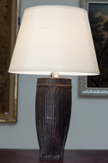 Paintings, A Stained Rattan Box Mounted as a Table Lamp, 20th century. 31 inches high (78.7 cm). ...