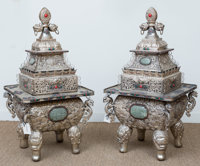 A Large Pair of Chinese Silver Over Copper Censers, mid-20th century 43 h x 21 w x 22 d inches (109.2 x 53.3 x 55