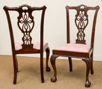 Eight Chippendale-Style Carved Mahogany Dining Chairs, late 20th century 41 h x 24 w x 19 d inches (104.1 x 61.0 x