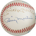 Baseball Collectibles:Balls, 1980's Mickey Mantle, Whitey Ford & Billy Martin Signed Baseball. . ...