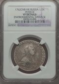 Russia, Russia: Peter III 1/2 Rouble (Poltina) 1762 СПБ-НК VF Details (Environmental Damage) NGC,...