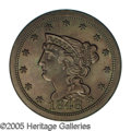 Proof Braided Hair Half Cents: , 1848 1/2 C First Restrike. SR-10, B-2, High R.5. PR64 Brown NGC.PR60 EAC. Large date; Small berries, doubled T in CENT. ...