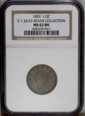 Half Cents: , 1853 1/2 C C-1, B-1, R.1. Die State 1. MS62 Brown NGC. AU55 EAC.Large date; Small berries. The early state with bold denti...
