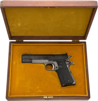 [Mickey Spillane]. Cased Colt MKIV / Series 70 Gold Cup National Match Semi-Automatic Pistol. Mickey's Piece