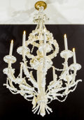 Decorative Arts, British:Lamps & Lighting, An Louis XVI Style White Painted Wood and Metal Ten-LightChandelier, 20th century. 48 inches high (121.9 cm). ...
