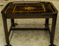 Furniture , A Victorian Tole Painted Tea Tray with Ebonized Wood Stand, late 19th century. 19 h x 28-1/2 w x 22-3/4 d inches (48.3 x 72....