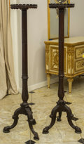 , A Pair of Finely Carved Queen Anne-Style Wooden Candle Stands, 19th century. 60 inches high (152.4 cm). ... (Total: 2 Items)
