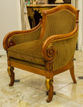 Furniture , An Empire-Style Painted and Partial Gilt Cherrywood Upholstered Armchair, 20th century. 37 h x 27-3/8 w x 28-1/2 d inches (9...
