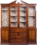 Furniture , A Chippendale-Style Glazed Mahogany Breakfront Secretary Cabinet, 20th century. 92-1/2 h x 77 w x 15 d inches (235.0 x 195.6...