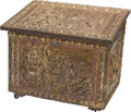 Furniture , A Dutch Pine and Brass Repousséd Wood Box, first half 20th century. 20 h x 23-3/4 w x 17 d inches (50.8 x 60.3 x 43.2 cm). ...