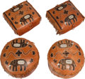 African, Four Ghanaian Leather Decorated Ottomans, 20th century. 16 incheshigh x 20 inches diameter (40.6 x 50.8 cm) (round examples...(Total: 4 Items)