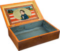 Political:3D & Other Display (pre-1896), William Henry Harrison: Fabulous Reverse Painting on Glass WoodenBox....