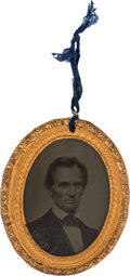 "Political:Ferrotypes / Photo Badges (pre-1896), Abraham Lincoln: A Superb, Choice Example of the Iconic GeorgeClark 1860 Campaign Ambrotype, Measuring 2.125"" x 2.5""...."
