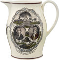 """Political:3D & Other Display (pre-1896), John Hancock: Classic """"Proscribed Patriots"""" Liverpool Creamware Jug, with Jefferson Quote...."""