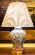Decorative Arts, Continental, A Chinese Enameled Porcelain Ginger Jar Mounted as a Lamp. 32inches high (81.3 cm). ...