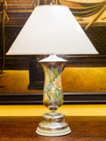 Decorative Arts, Continental, A Mercury Glass and Floral Multi-Media Vase Mounted as a Lamp, 20thcentury. 28 inches high (71.1 cm). ...