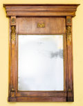 Furniture , An Empire-Style Carved and Partial Gilt Mahogany Mirror, 19thcentury. 63 h x 46 w x 5 d inches (160.0 x 116.8 x 12.7 cm). ...