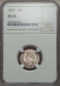Bust Dimes, 1820 10C Large 0 XF45 NGC. NGC Census: (9/177). PCGS Population:(7/115). Mintage 942,587. ...
