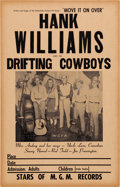 Music Memorabilia:Posters, Hank Williams & The Drifting Cowboys Concert Poster (1949).Rare....