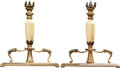 Decorative Arts, Continental, A Pair of Beaux Arts Enameled and Gilt Metal Candle Prickets, early20th century. 9-1/2 h x 8-1/2 w x 2 d inches (24.1 x 21.... (Total:2 Items)