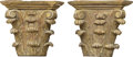Decorative Arts, Continental, A Pair of Italian Carved and Painted Wood Brackets Modeled afterCorinthian Column Capitals, late 18th century. 15-1/4 h x 1...(Total: 2 Items)