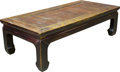 Furniture , A Chinese-Style Carved Oak and Bamboo Low Table. 20-1/2 h x 70-3/4 w x 33-1/2 d inches (52.1 x 179.7 x 85.1 cm). ...