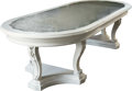 Furniture : American, A Hollywood Regency-Style White Painted Mirrored Top Dining Table, mid 20th century with earlier elements. 31 h x 106 l x 4...